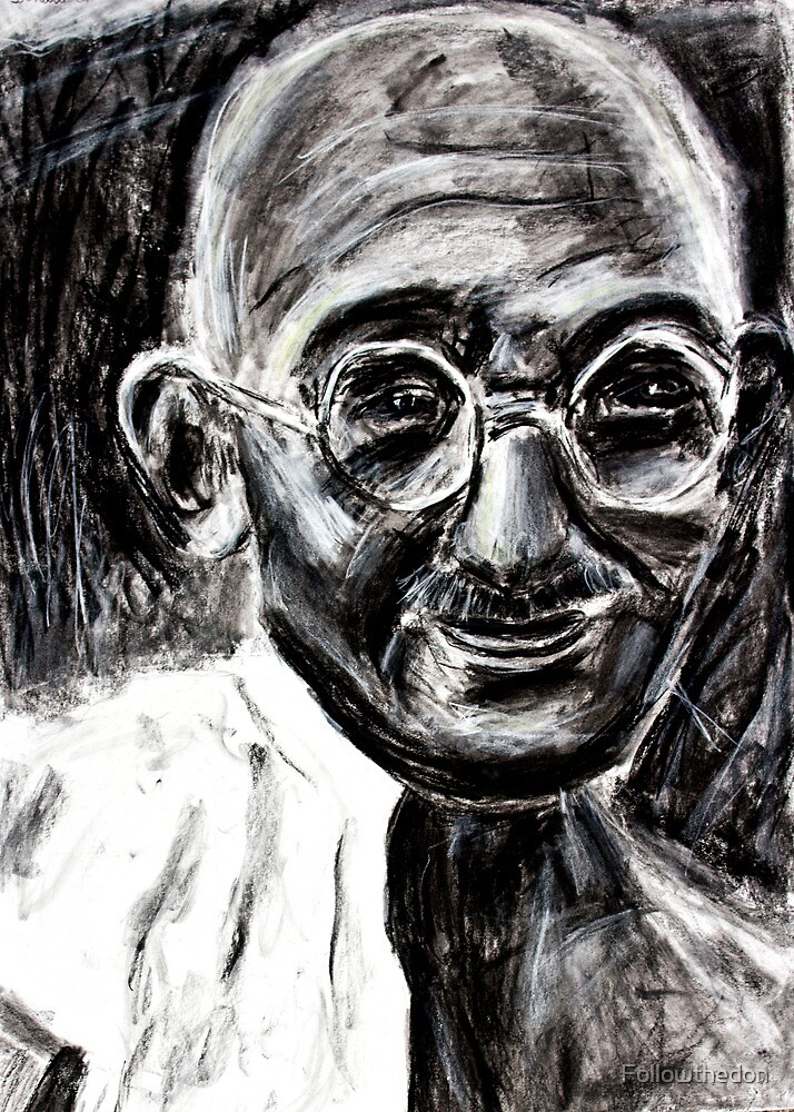 Mahatma Gandhi in Charcoal  by Followthedon
