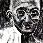 Mahatma Gandhi in Charcoal  by Followthedon