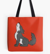 Gray Howling Wolf Pup Tote Bag