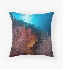 Coral on the wreck of the SS Yongala Throw Pillow