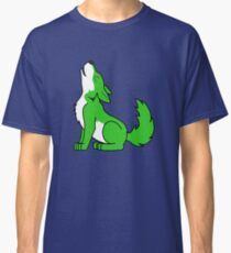 Green Howling Wolf Pup Classic T-Shirt
