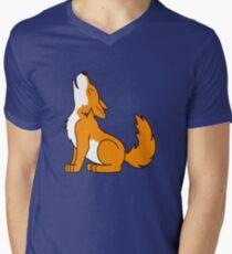 Orange Howling Wolf Pup Men's V-Neck T-Shirt