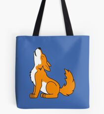 Orange Howling Wolf Pup Tote Bag