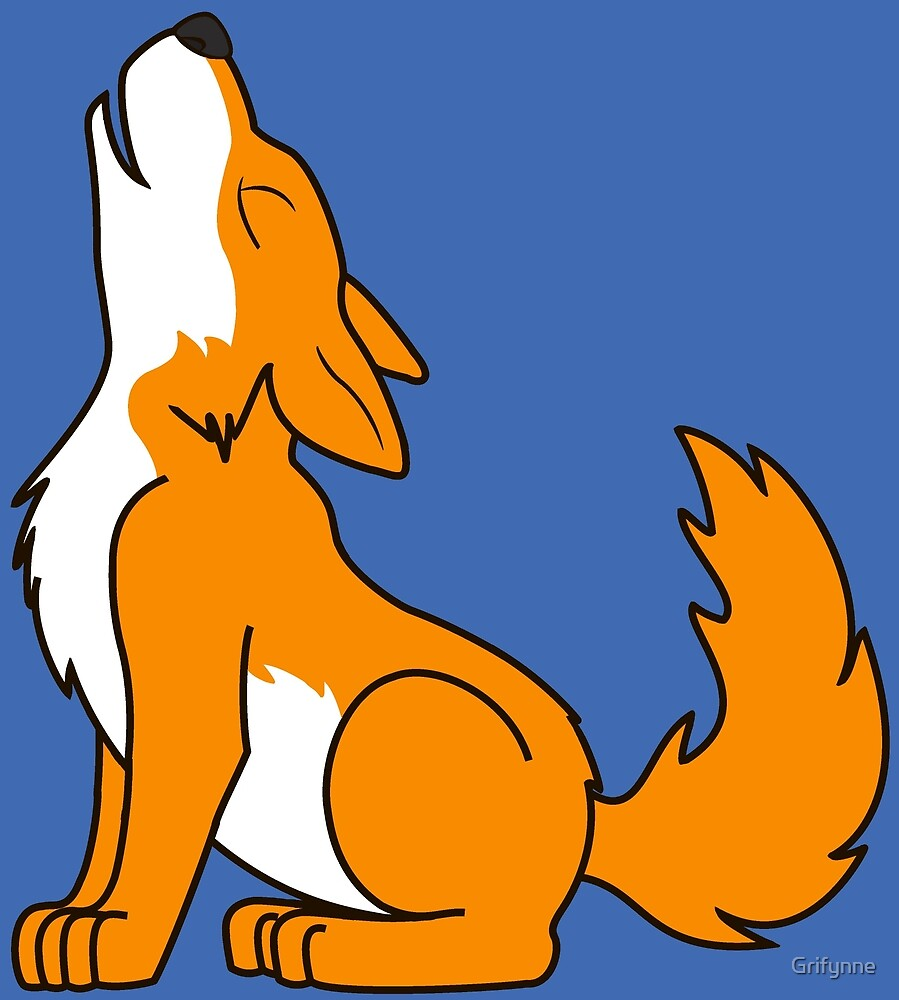 Orange Howling Wolf Pup by Grifynne