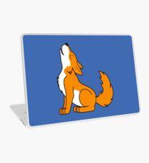 Orange Howling Wolf Pup Laptop Skin
