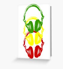 Rasta Colors Head Phones Stencil Style Greeting Card