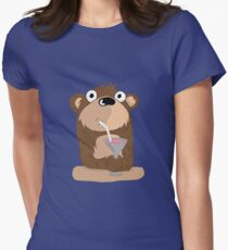 Cocktail Bear Womens Fitted T-Shirt