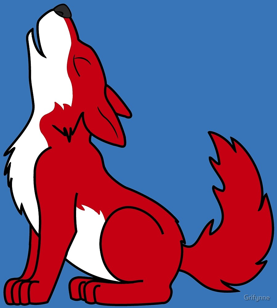 Red Howling Wolf Pup by Grifynne
