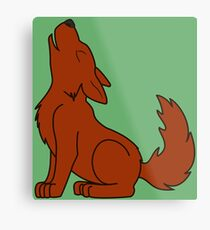 Solid Natural Red Howling Wolf Pup Metal Print