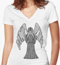 Don't Blink Weeping Angel Women's Fitted V-Neck T-Shirt