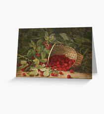 Fruit Still Life - Basket of Raspberries - Vintage Painting of Raspberries - Fruit Images Greeting Card