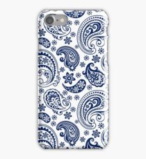 Blue And White Vintage Paisley Design iPhone Case/Skin