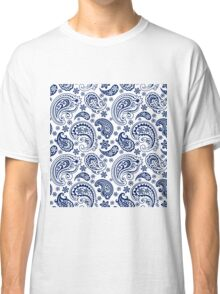 Blue And White Vintage Paisley Design Classic T-Shirt