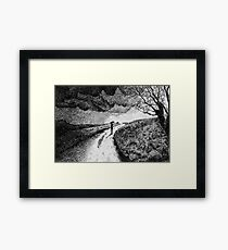 Fingerprint - Rain - Black ink Framed Print