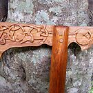 Carved Axe Walking Stick  by RangerRoger
