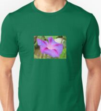 Mauve and Magenta Morning Glory with Water Drops Unisex T-Shirt