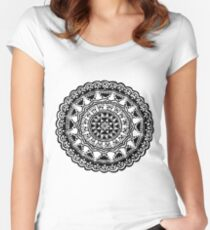 Black and white Mandala 1. Women's Fitted Scoop T-Shirt