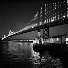 Bay Bridge illuminated by the Bay Lights Project by Rodney Johnson