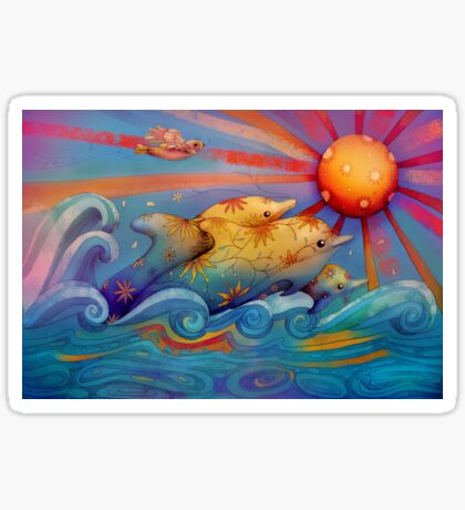 rainbow dolphins Sticker
