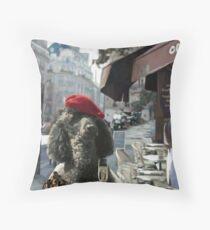 A Poodle in Paris Throw Pillow