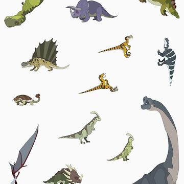 13 Dinosaur Cartoon Stickers by JackBQuick