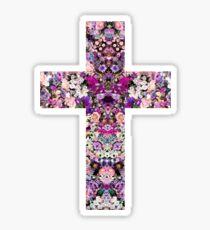 Floral Kaleidoscope - Cross Sticker