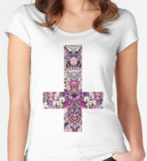 Floral Kaleidoscope - Inverted Cross Women's Fitted Scoop T-Shirt