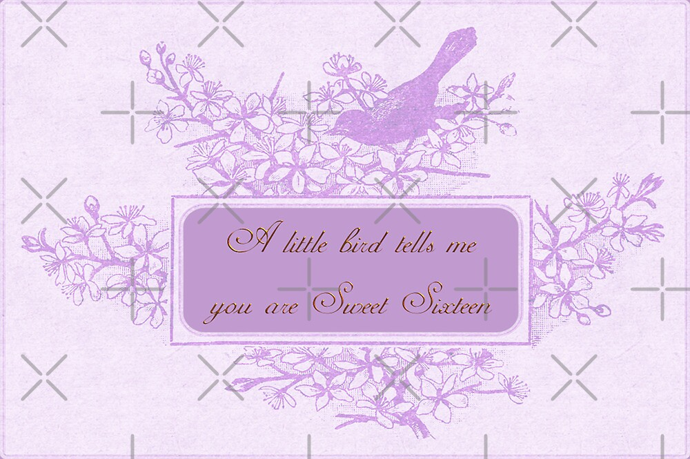 Sweet Sixteen Birtthday Greeting Card by Vickie Emms