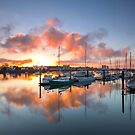 Sunset Reflection Yachts by Kyle  Rodgers