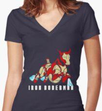 Iron Doberman Women's Fitted V-Neck T-Shirt