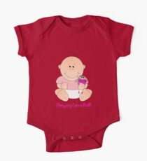 Cute Baby girl with doll and text Tee Kids Clothes