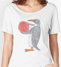 Penguin with Pizza Women's Relaxed Fit T-Shirt