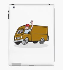 Delivery Man Waving Driving Van Cartoon iPad Case/Skin
