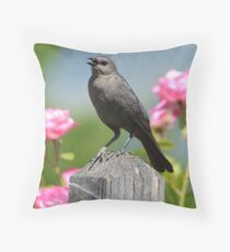 Bird in a Garden Throw Pillow