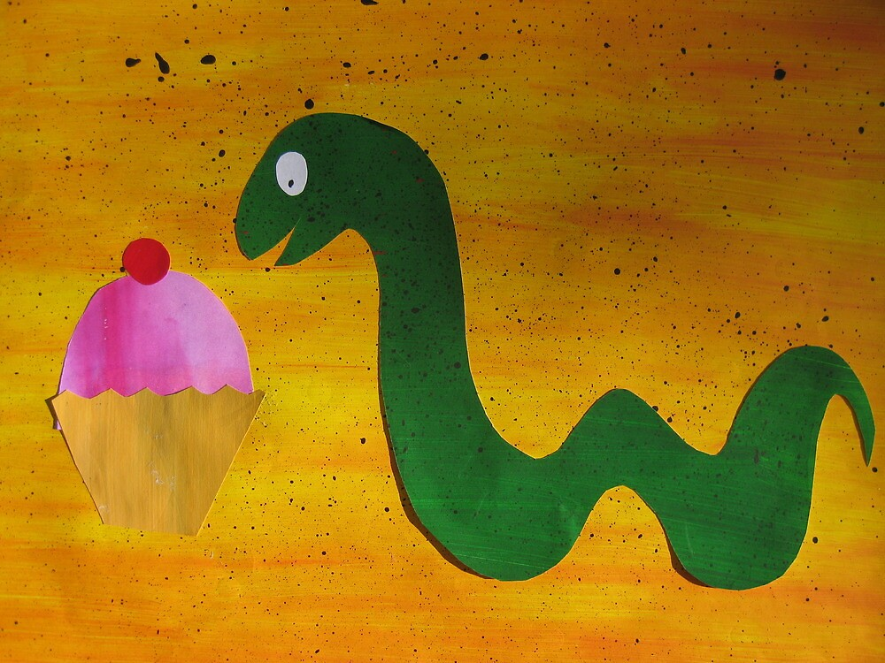 Snake with a Cake by cathyjacobs