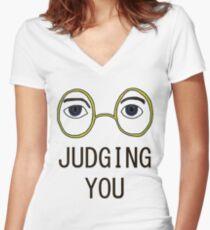 TJ Eckleburg is Judging YOU! Women's Fitted V-Neck T-Shirt
