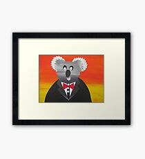 Koala at a Gala- Animal Rhymes - created from recycled math books Framed Print