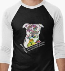 Pitbull BSL White Men's Baseball ¾ T-Shirt