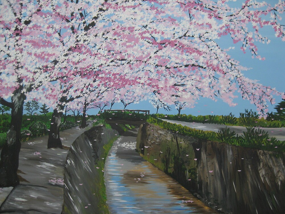 Japanese cherry blossom - painted from a series of photos from Japan by cathyjacobs