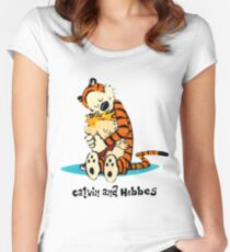 Hug Calvin and Hobbes Women's Fitted Scoop T-Shirt