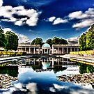 Pavilion Reflected in Lily Pond by Ruski