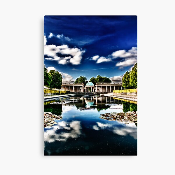 Pavilion Reflected in Lily Pond Canvas Print