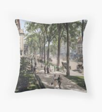 Broadway in Saratoga Springs, New York, ca 1915 (full size) Throw Pillow