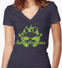 Split Happens Bowling Logo Women's Fitted V-Neck T-Shirt