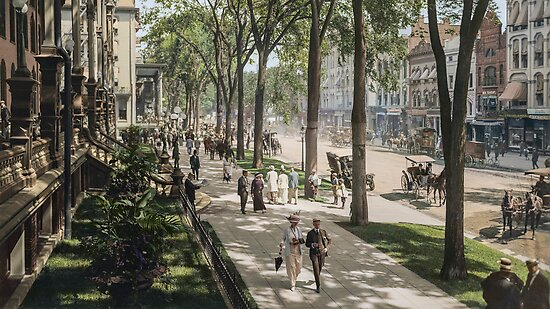 Broadway in Saratoga Springs, New York, ca 1915 (16:9 crop)  by Sanna Dullaway