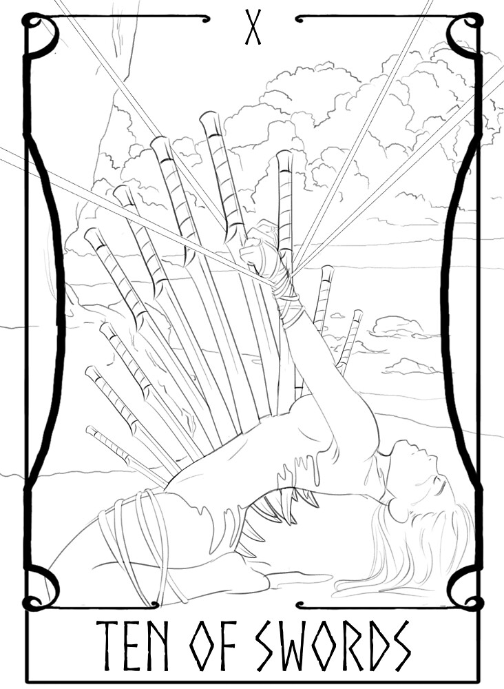 Tarot--Ten of Swords by CarrowBrown