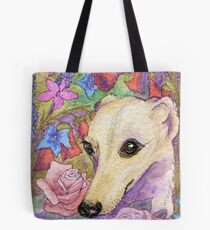 Shy flower whippet greyhound Tote Bag