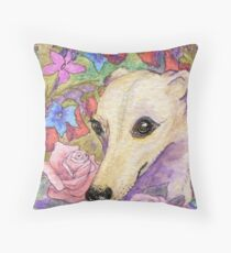 Shy flower whippet greyhound Throw Pillow