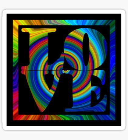 retro color spiral square love t (small front) Sticker
