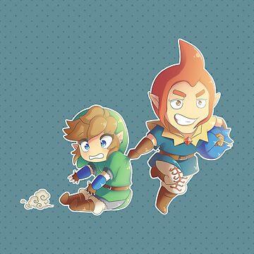 Legend of Zelda: Skyward Sword chibi Link and Groose by Zelbunnii